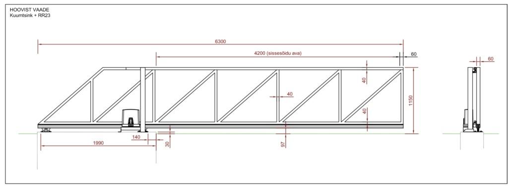 Откатные ворота, чертеж откатных ворот, монтажный чертеж